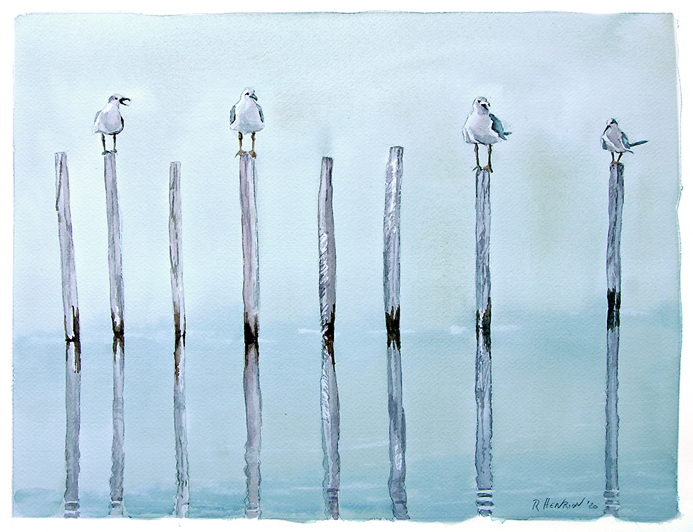 """""""Social distancing"""" or """"The stranger"""" preparatory water color sketch, size 3"""