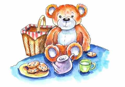 Teddy Bear Picnic Watercolor Illustration Painting