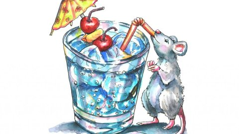 Tropical Drink With Umbrella Mouse Drinking Vacation Watercolor Illustration Painting