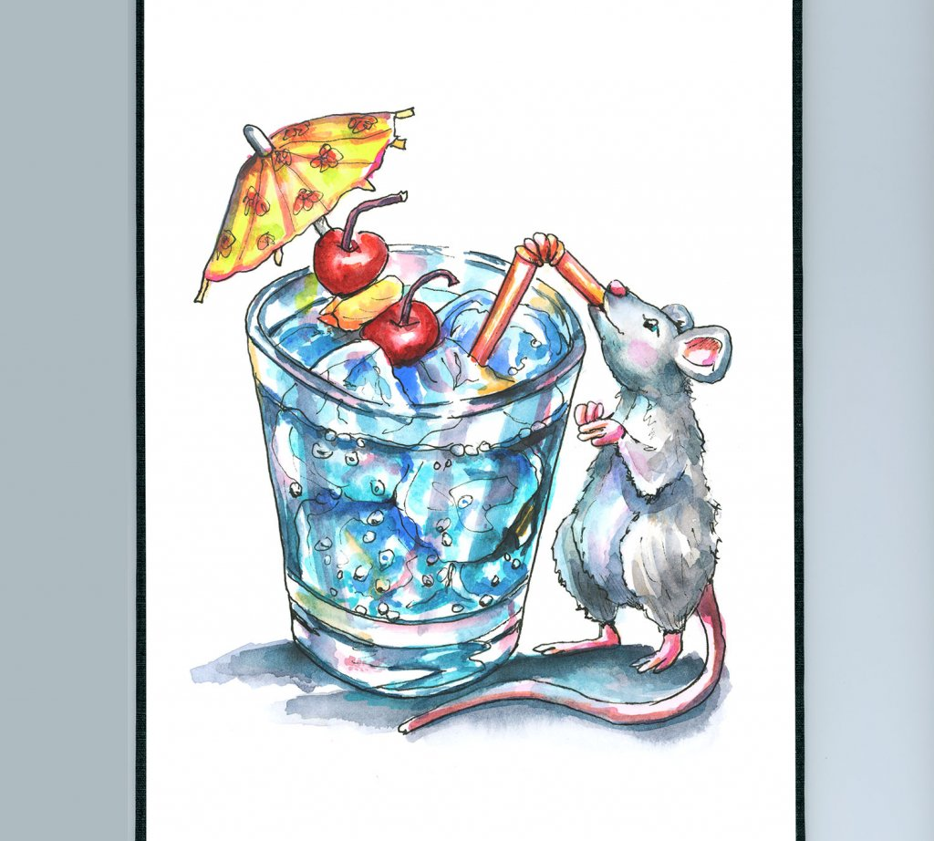 Tropical Drink With Umbrella Mouse Drinking Vacation Watercolor Illustration Painting Sketchbook Detail
