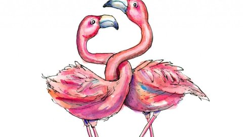 Two Flamingos Necks Entwined Love Watercolor Illustration Painting