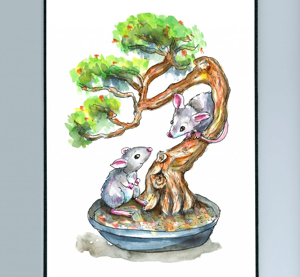 Two Mice In Bonsai Tree Watercolor Illustration Painting Sketchbook Detail