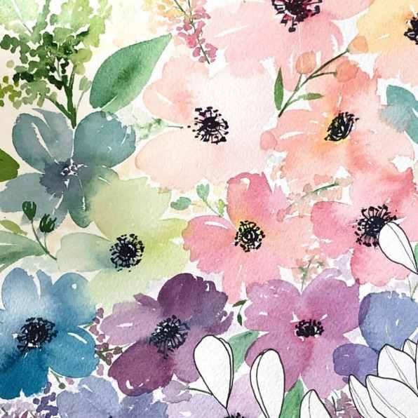 leslie.writes.it.all watercolor flowers