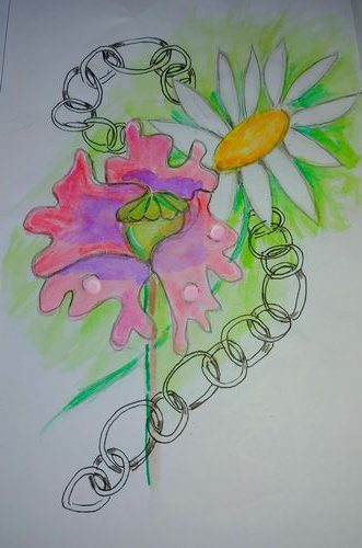 summertime= poppies and daisies blooming in the garden. Watercolours on a left behind drawing of a c
