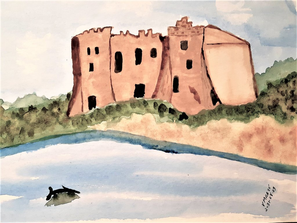 2021-08-03: I combined prompts #3 (seaside) and #4 ( castle) #doodlewashAugust2021 #WorldWatercolorG