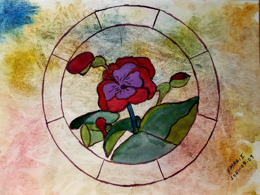 2021-08-03 painted with Cathy Wild's Creating Connections watercolour group. 20210803_Stained