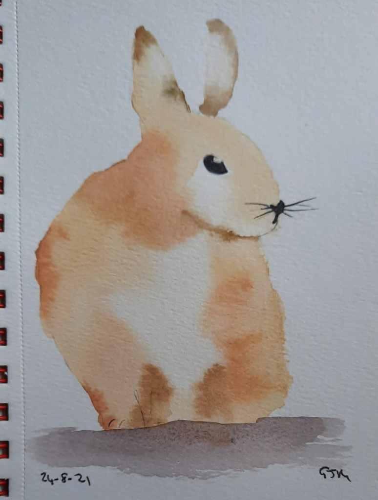 #doodlewashaugust2021 Day 25 Rabbit. #worldwatercolorgroup 20210824_185728
