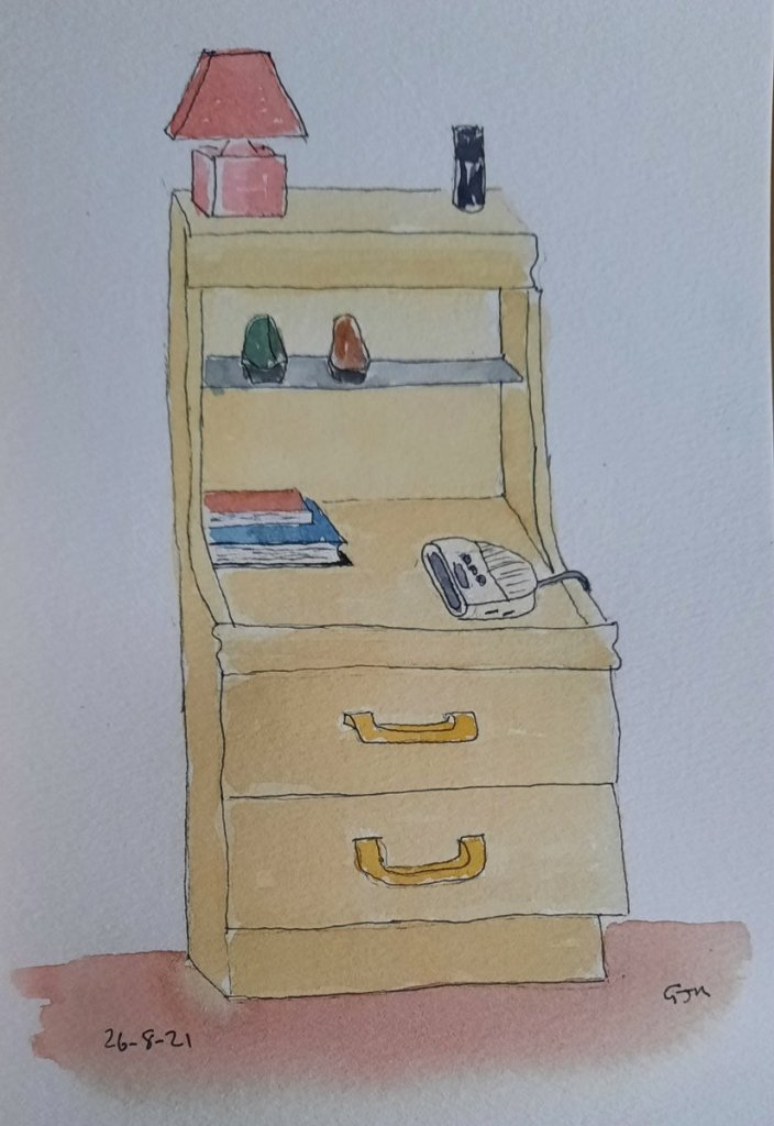 Drawn from life, my bedside cabinet. #doodlewashaugust2021 Day 27 Cabinet. #worldwatercolorgroup 202