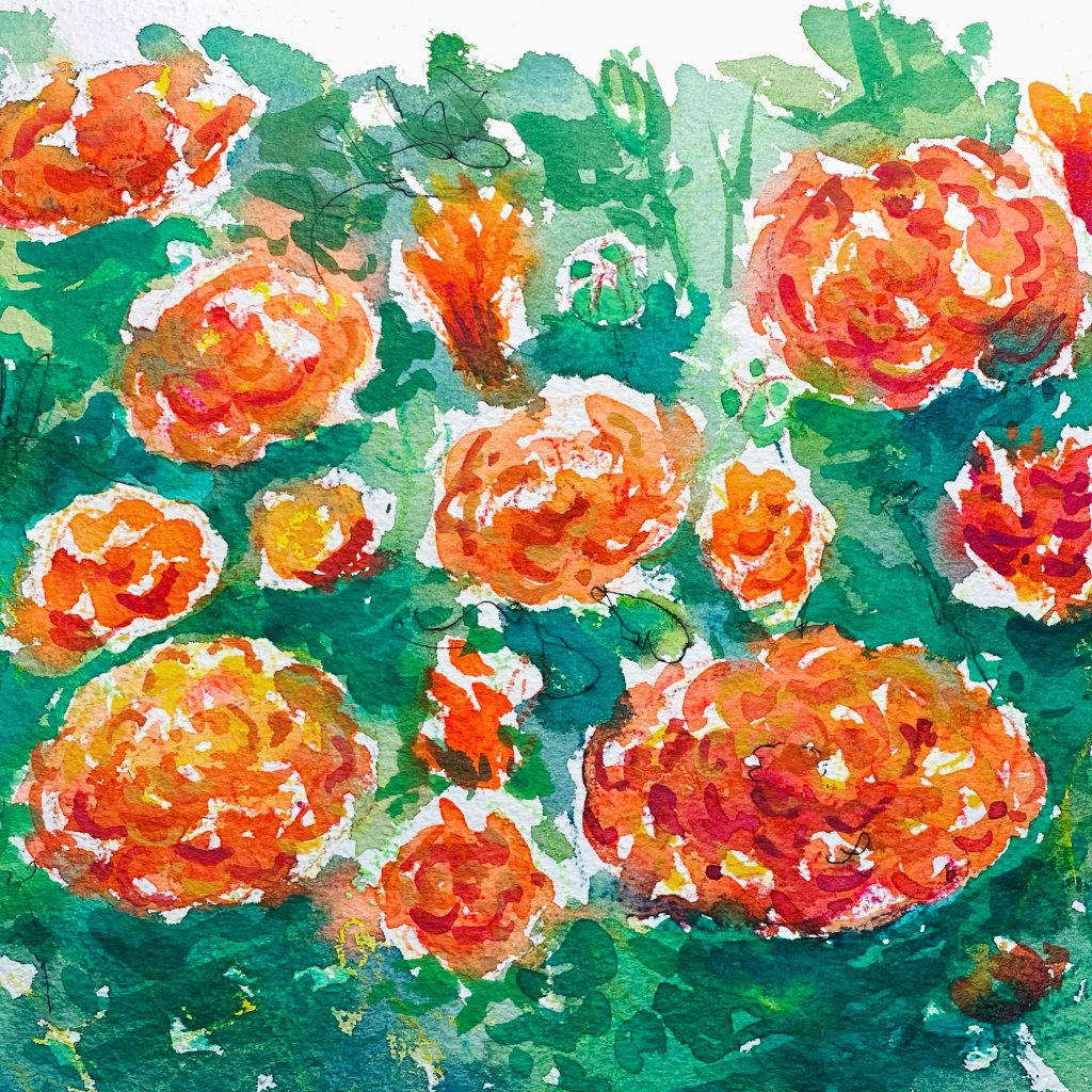 Marigolds – something a bit more summery. Inspired by some wonderful specimens, I spotted after a