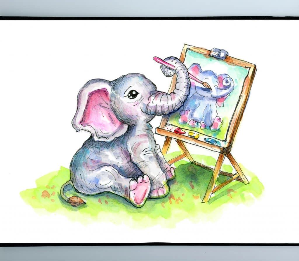 Cute Baby Elephant Painting Self Portrait Watercolor Illustration Sketchbook Detail