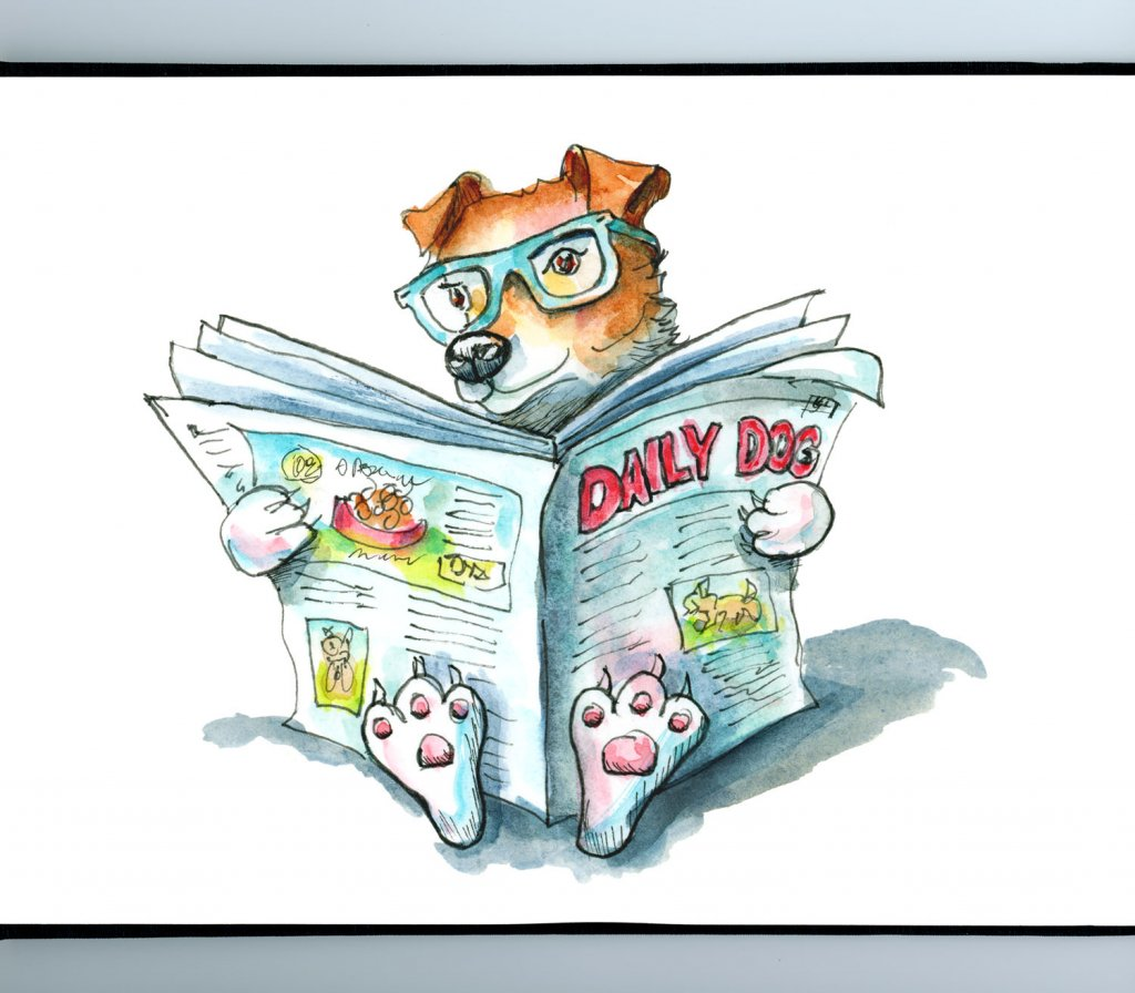 Dog Reading Newspaper Wearing Glasses Watercolor Illustration Painting Sketchbook Detail