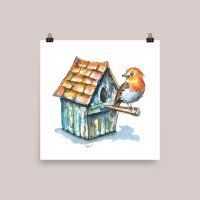 English Robin And Birdhouse Watercolor Illustration