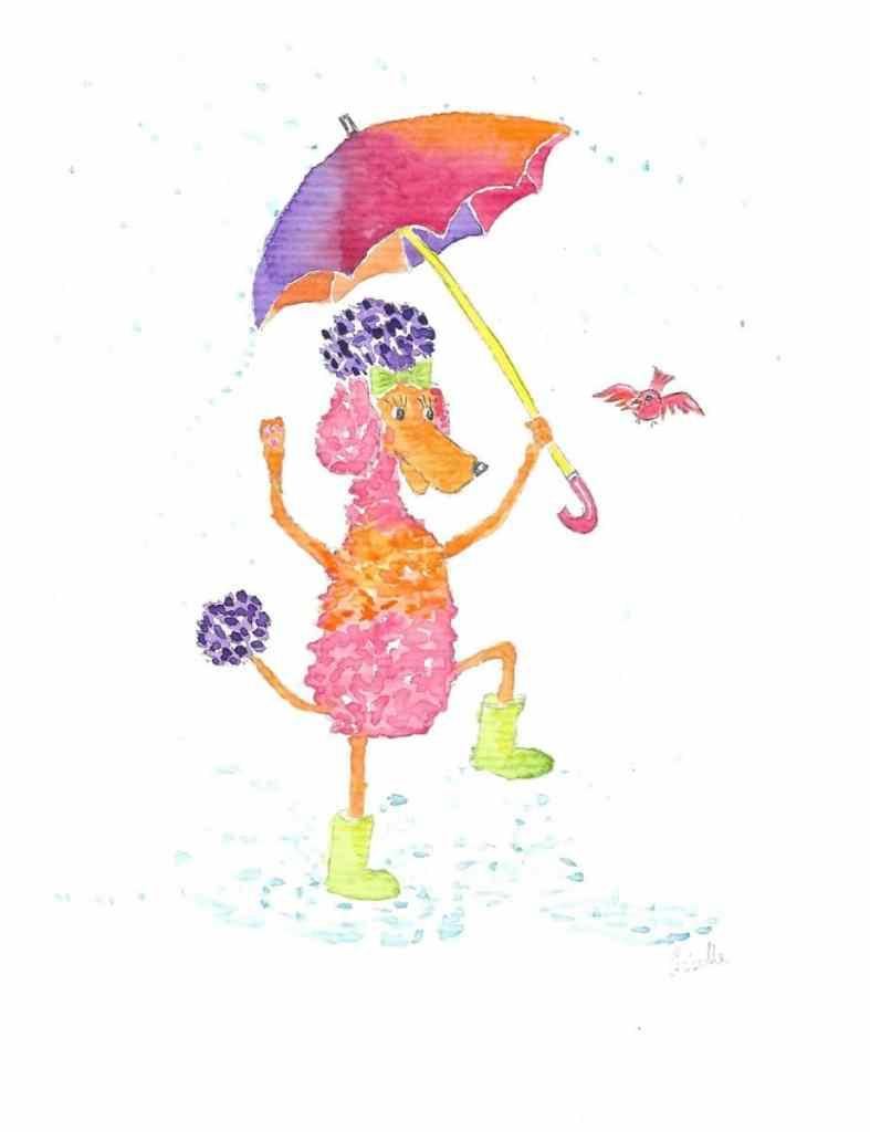 Splatter! Fifi splattering in puddles