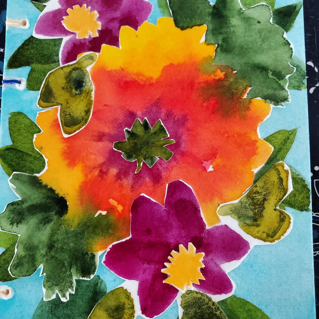 I worked on this watercolor sketch book this summer! My niece and I picked papers, binding stitch an