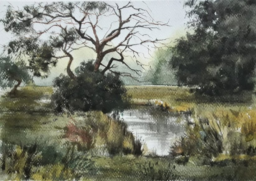 Landscape Trees and Pond Watercolor Painting