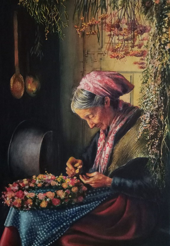 Old Woman Making Wreath Watercolor Painting