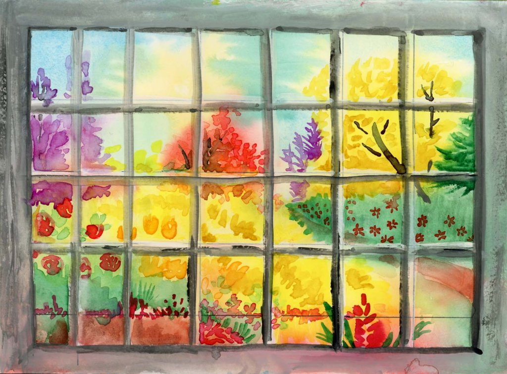 View from the Office Window #DoodlewashAugust2021 prompt: Bookshelf. Okay, you can't see it, b