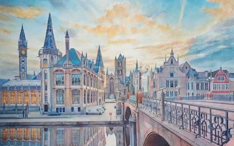 Watercolor Cityscape by Gourav Dutta