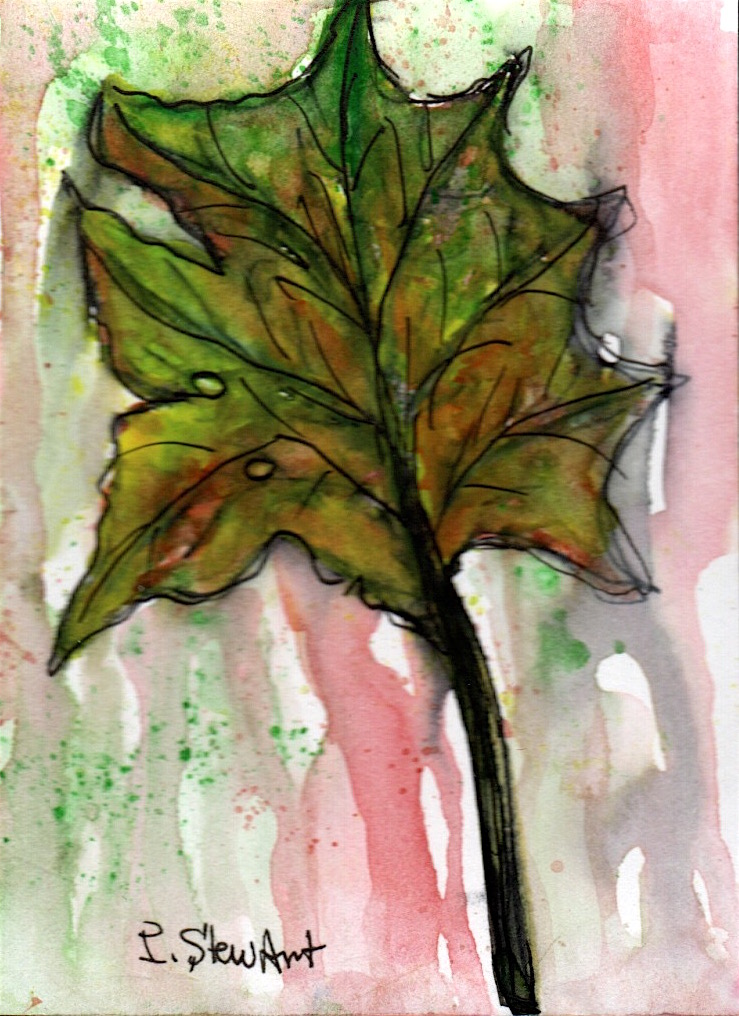 Day 2 of #doodlewashseptember2021. Leaf. ACEO size, watercolor and pen. #1348-LEAF