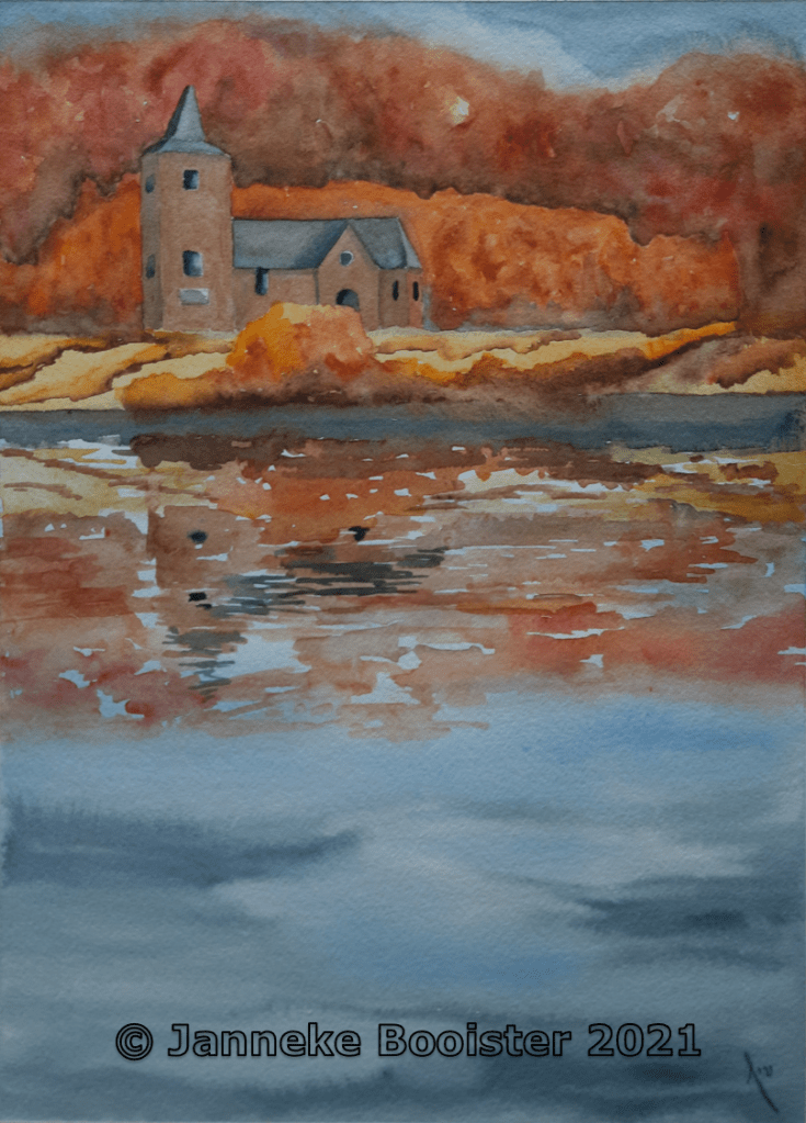 Church on the river. Watercolour on Arches paper. For this one I have only used my sketch to create