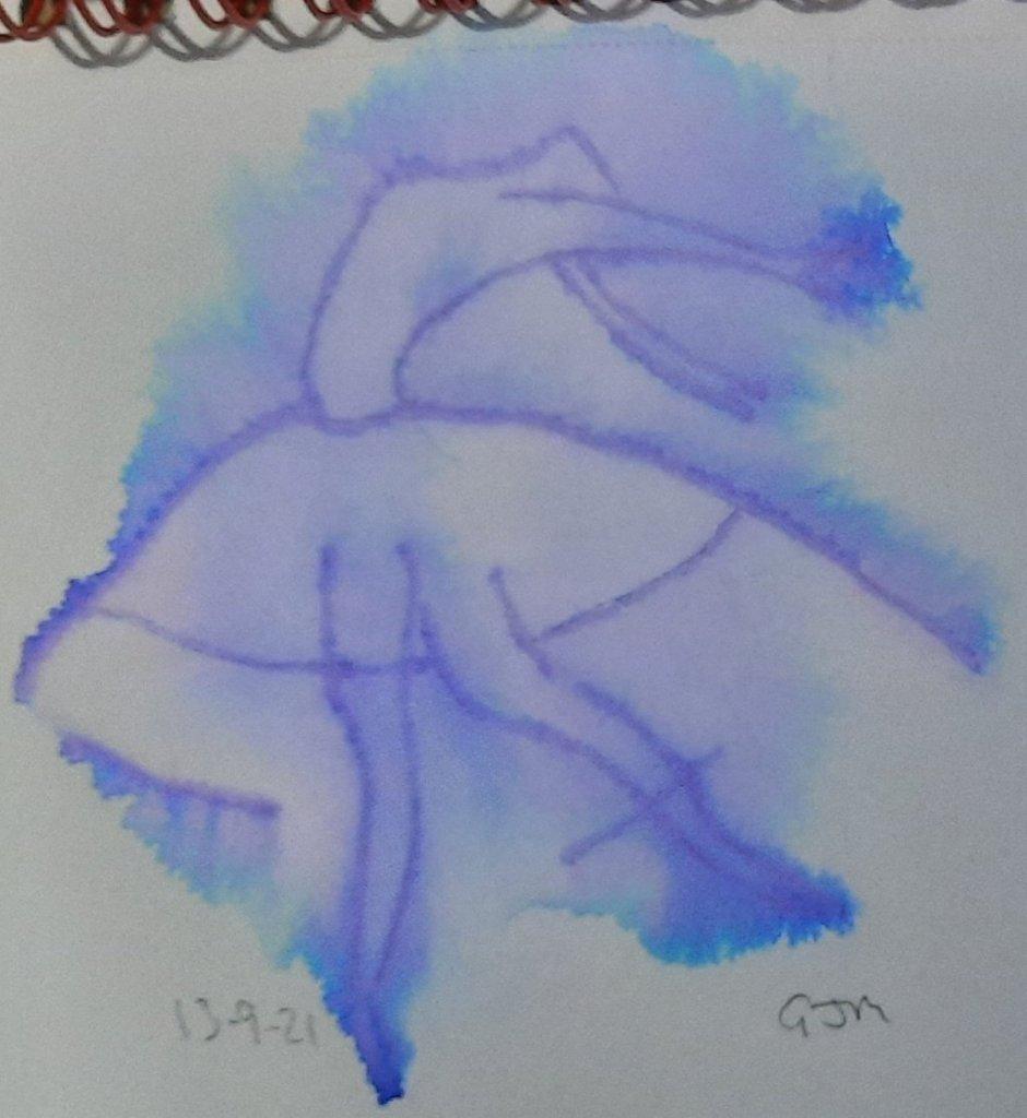 An experiment with a felt tip pen and a spray bottle. #doodlewashseptember2021 Day 13 Ballerina. 202