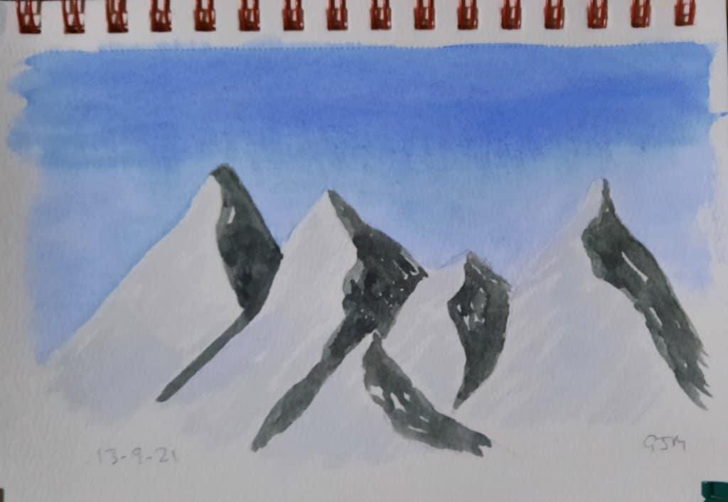 #doodlewashseptember2021 Day 14 Mountain. #worldwatercolorgroup 20210914_055303