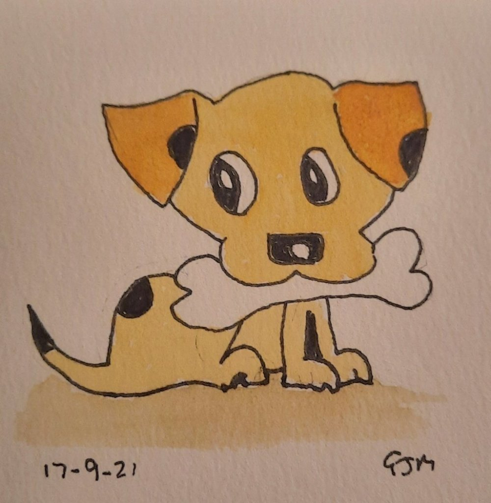 #doodlewashseptember2021 Day 18 Puppy. #worldwatercolorgroup 20210917_200609
