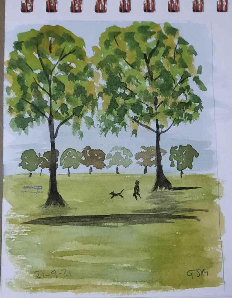 #doodlewashseptember2021 Day 21 Park. #worldwatercolorgroup 20210921_193625
