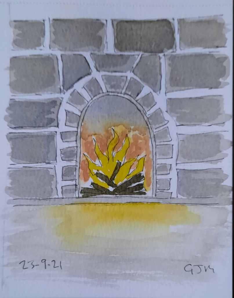 #doodlewashseptember2021 Day 23 Fireplace. #worldwatercolorgroup 20210923_192619