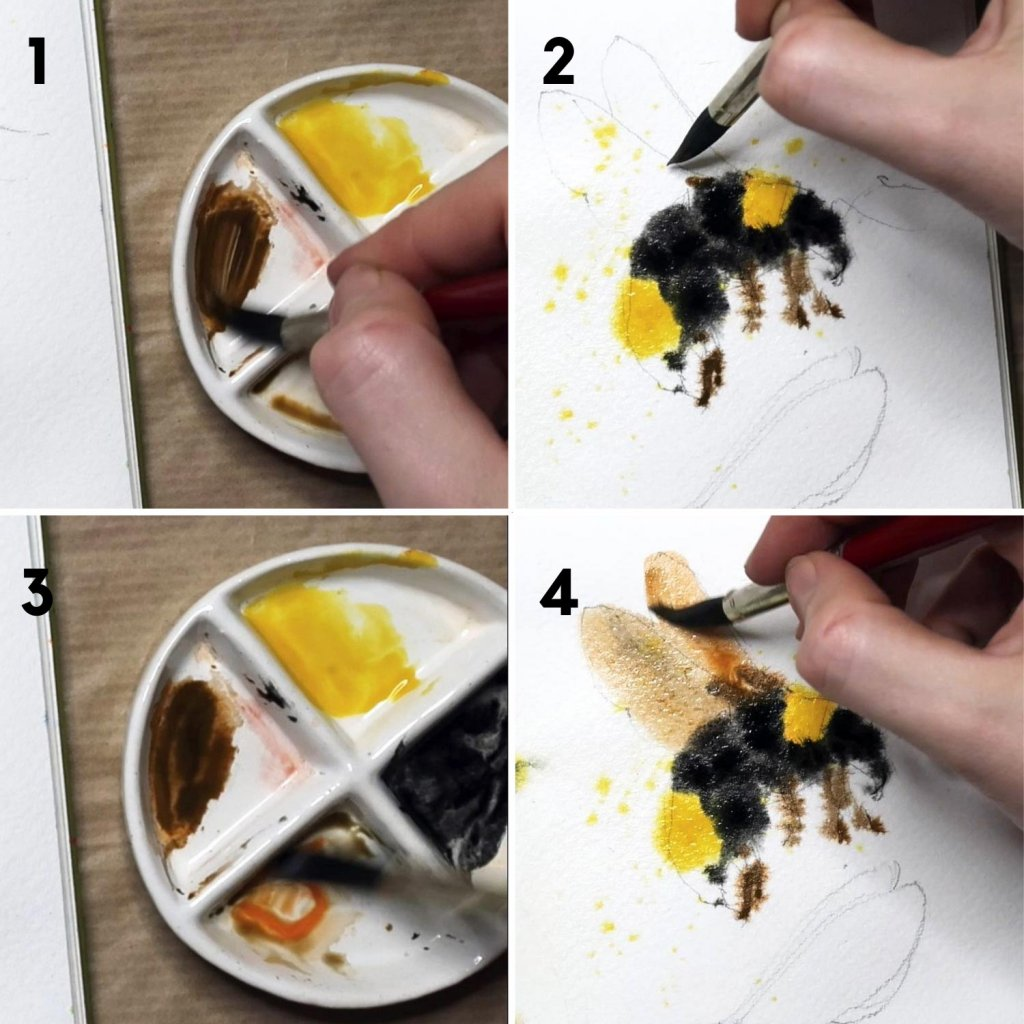 painting bees in gouache