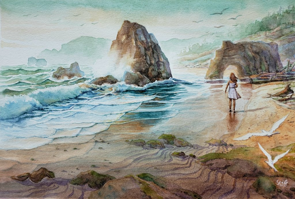 Thanks for viewing my watercolor. This beach scene is my imaginary image I created. Hope you like th