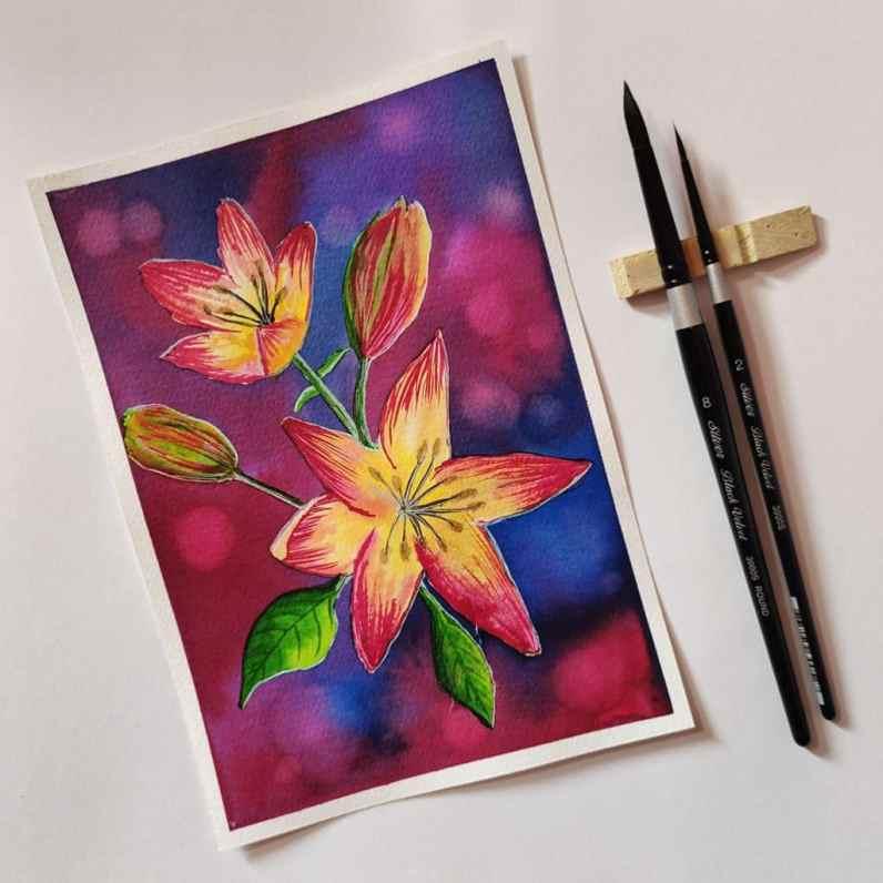 Bright Color Flowers Watercolour by Hridaya Keerthana