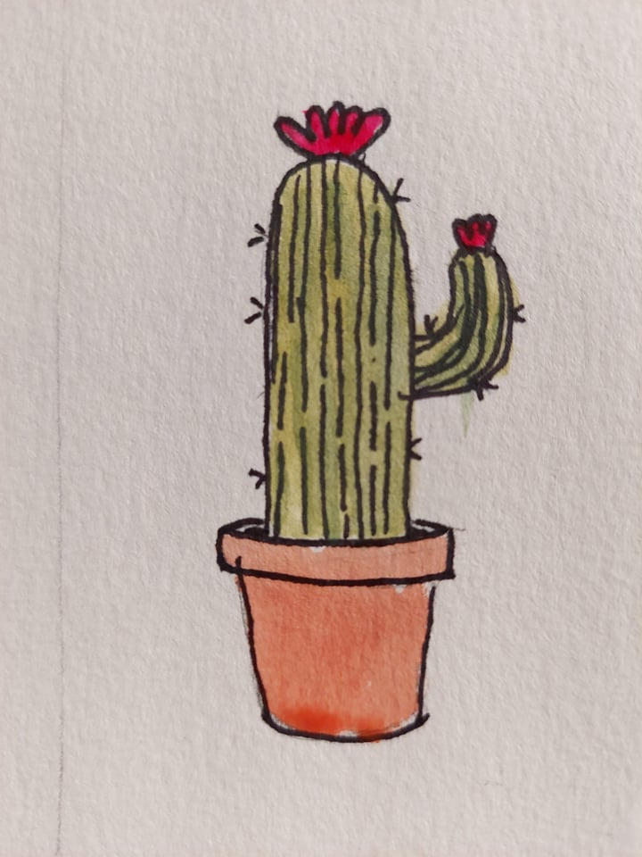 """Little doodles, including today's challenge prompt. """"Doll"""" raggedyannCactusrandomf"""