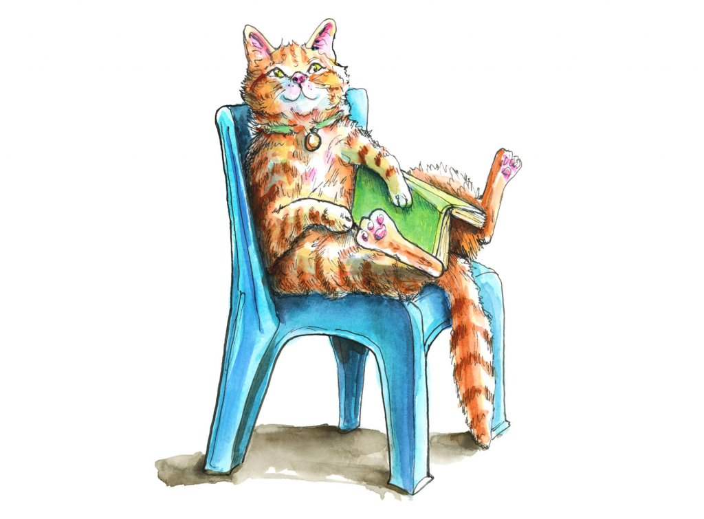 Cat Sitting In Blue Plastic Chair Reading Book Watercolor Illustration