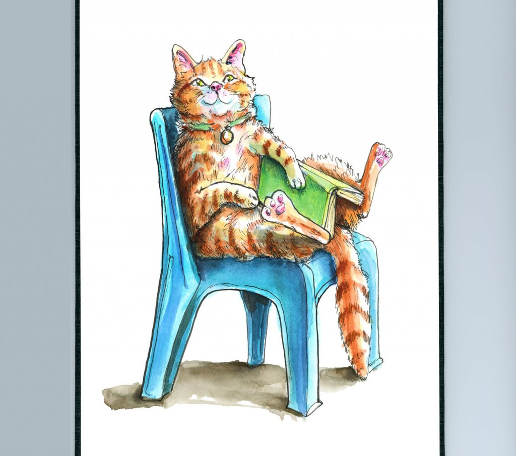 Cat Sitting In Blue Plastic Chair Reading Book Watercolor Illustration Sketchbook