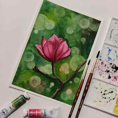 Deep Pink Flower Watercolor Painting by Hridaya Keerthana