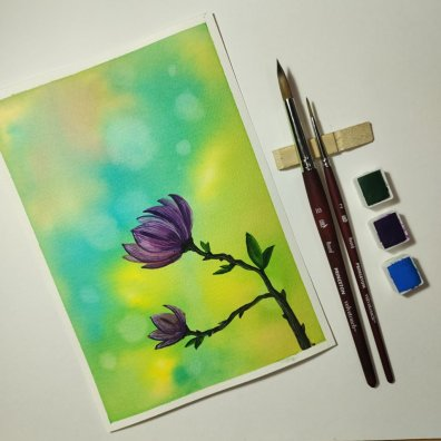 Flower on Green Blue Background Painting