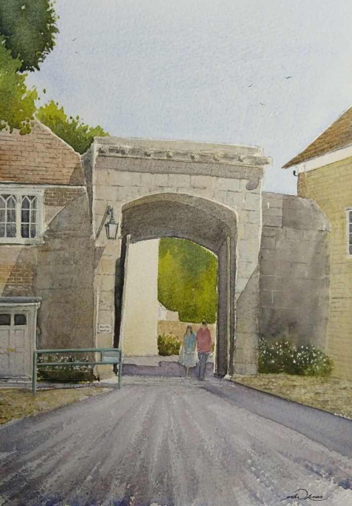 """"""" Harnham Gate """", Salisbury, England. Andrew Lucas Watercolour, 30 x 21 cm, I hope you e"""