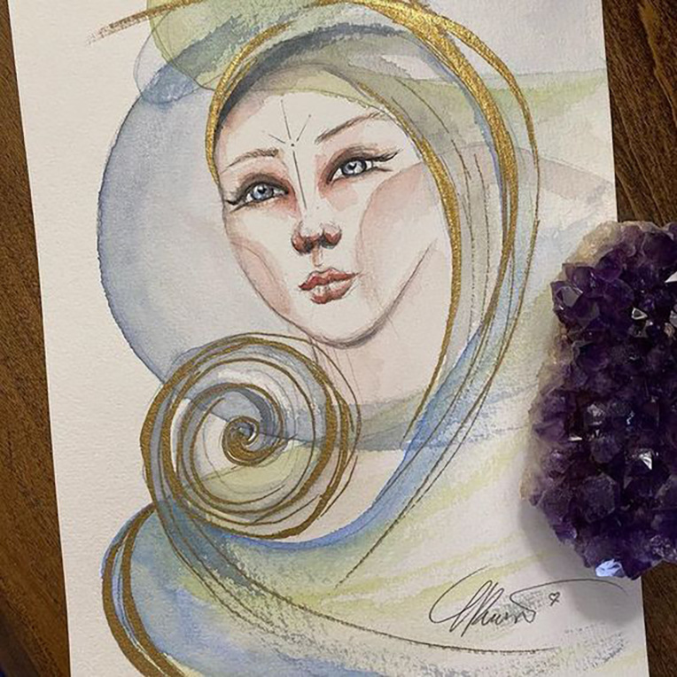 Title: I AM Free Watercolor with a touch of gold I AM Free