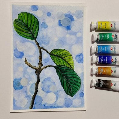 Leaves Watercolor Painting by Hridaya Keerthana