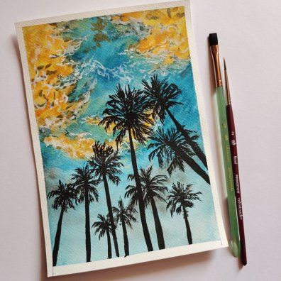 Palm Tree Silhouette Watercolor