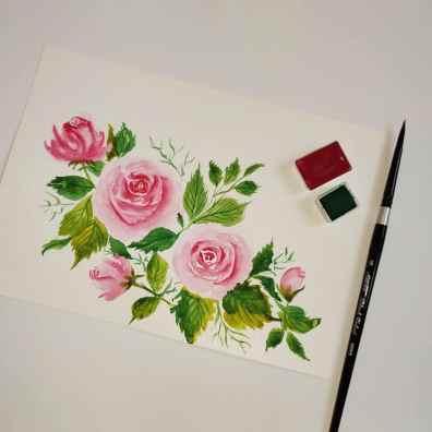Pink Roses watercolour painting by Hridaya Keerthana
