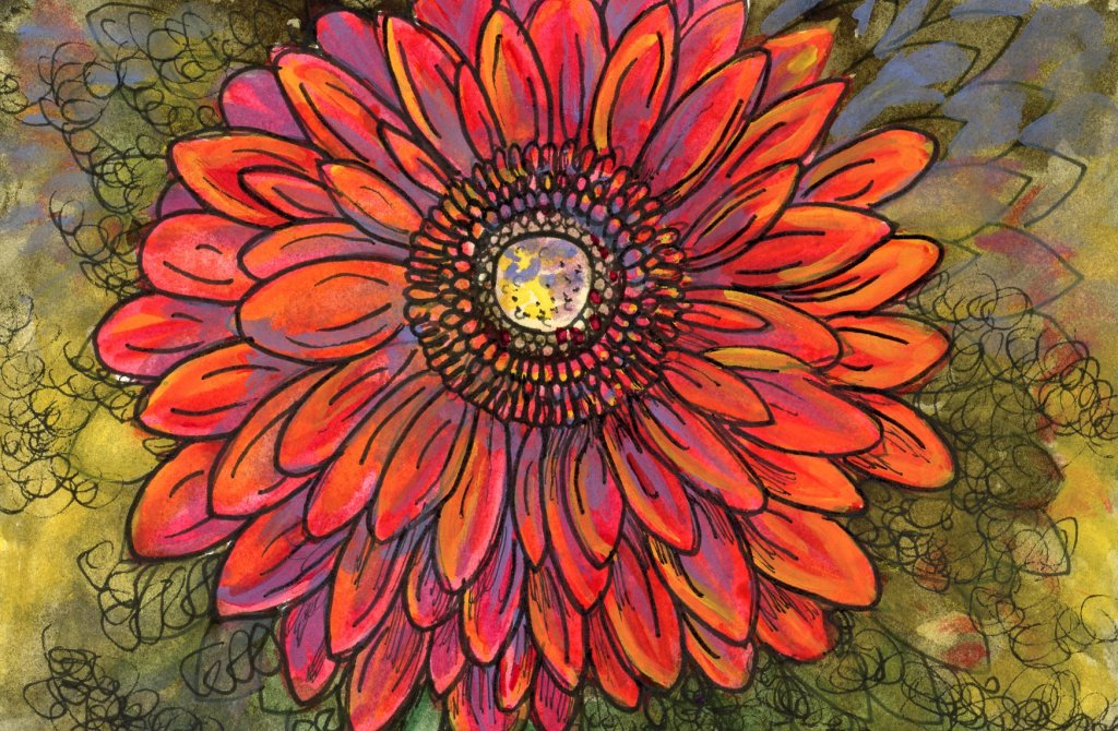 #DoodlewashSeptember2021 Prompt: Daisy. Did you know that the red gerbera daisy symbolizes enormous