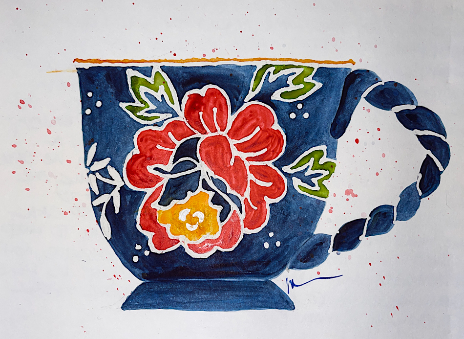 A tip of the cuppa to a loved artist, Tracey Fletcher King RIP W21 8 23 NOST TRACEY CUPPA-1669