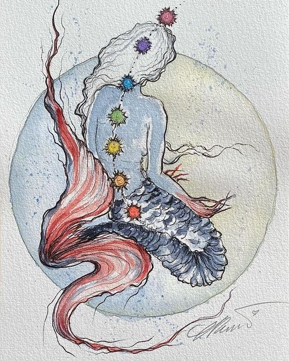 Xilo Goddess of the Chakras Mermaids Painting created for Mermay 2021 Xilo Goddess of The Chakras Me