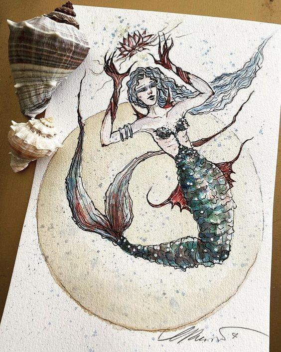 Zania Goddess of the Expansion Consciousness Mermaids, Painting created for Mermay 2021 Zania Goddes