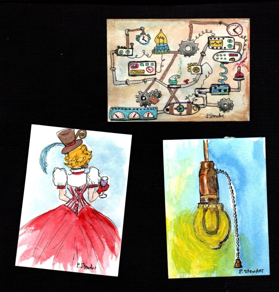 Steampunk, 3 ACEOs I made for a challenge on FB. steampunk 3 cards