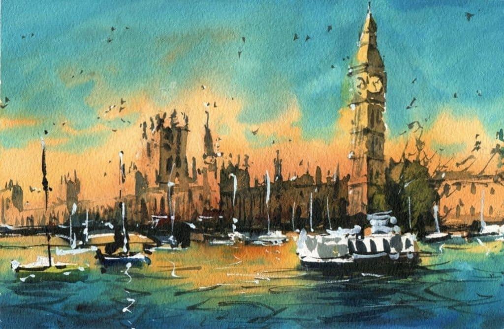 Watercolour Water Cityscape by Darren Yeo