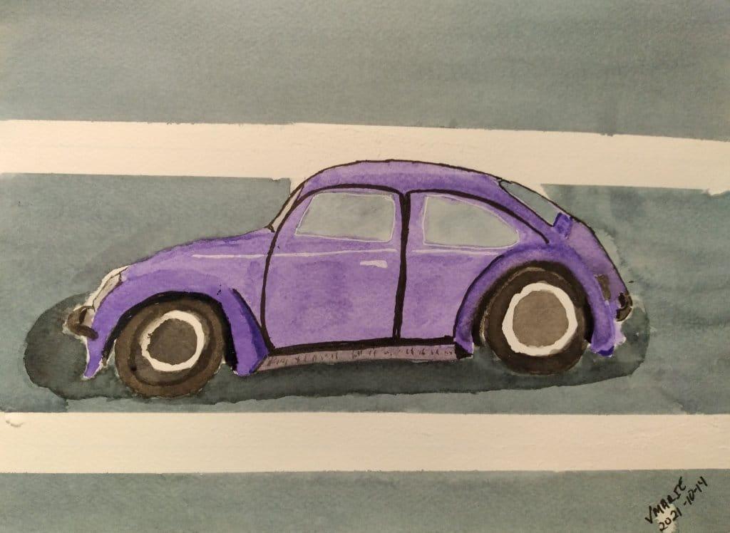 2021-10-14 Prompt 14 Bug: The Volkswagen Bug. #doodlewashOctober2021 #WorldWatercolorGroup #Aquarell