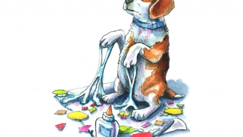 Beagle Craft Project Glue Mess Watercolor Illustration